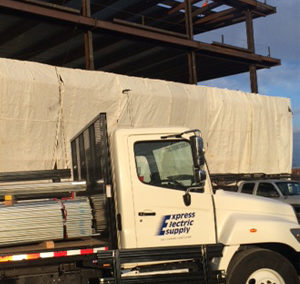 Express Electric Truck delivers supplies for the United Center East Project
